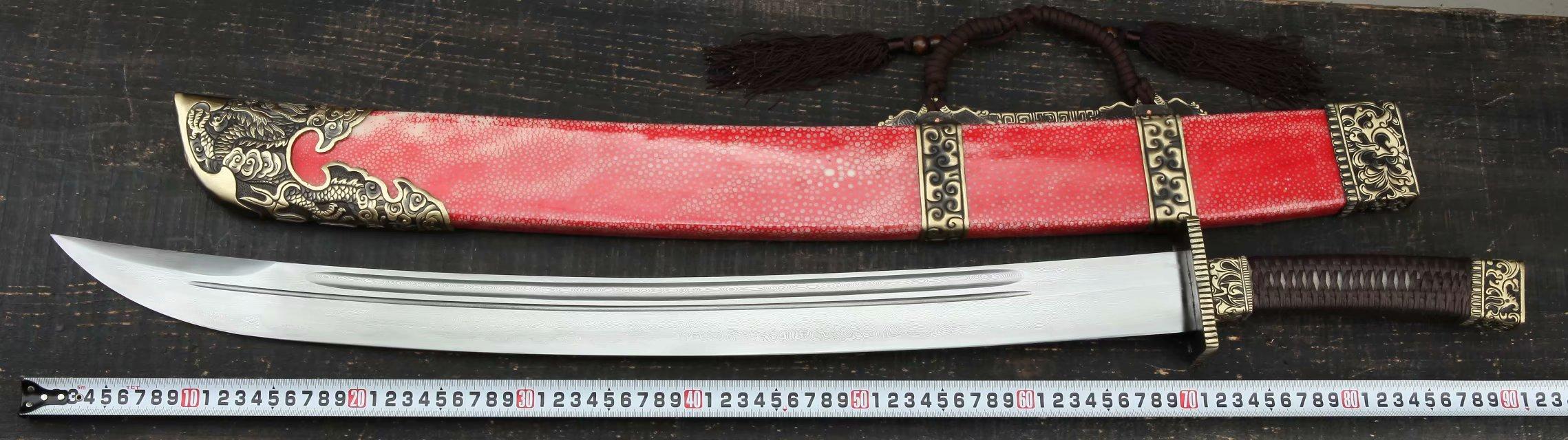 安清 刀剑_鲨鱼皮—屠龙大刀。(红色款)_刀剑供货网,各类传统刀剑,工艺 ...